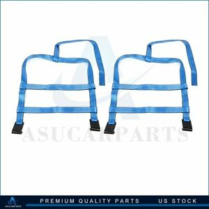 2x Car Tow Dolly Straps Tire Basket 10000lbs High Quality Blue