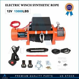 Electric Winch 13000LB ATV 12V Waterproof Boat Synthetic Rope w/ Remote Control