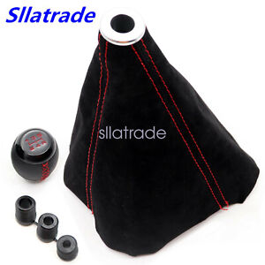 Leather 5 Speed Shift Knob Red Stitching Black Suede Boot Fit For Honda Civic