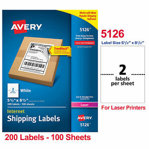 5126 Avery Shipping Labels 5 5 x8 5 200 Labels 100 Sheets For Laser Printers