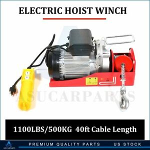 1100 Lb Electric Cable Hoist Crane Lift Garage Auto Shop Winch W Remote 110v
