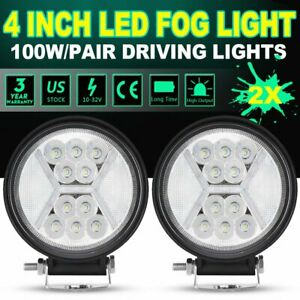 2x 4inch 100w Round Led Work Lights Combo Beam Offroad Fog Driving Light 24v 5