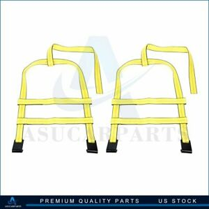 2pcs Car Tow Dolly Straps Tire Basket 10000lbs Brand New Yellow