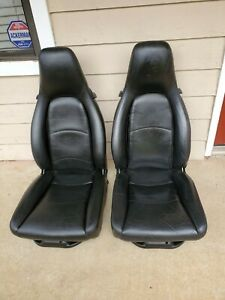 Porsche 911 928 944 S S2 951 964 968 993 Black Full Leather 12 Way Power Seats