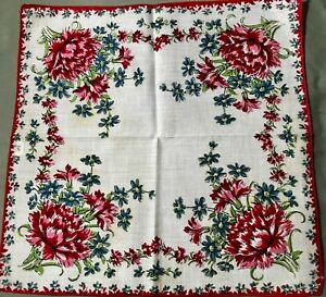 Old Vintage Gorgeous Red Flowers Print On Fine Linen Handkerchief 12 Sq