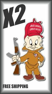 X2 Elmer Fudd Trump Maga 2nd Second Amendment Sticker Decal Funny