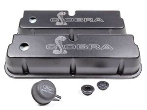 Ford Sbf Valve Covers W Cobra Logo Black M 6582 Le302sbk