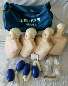 4 Laerdal Little Anne Cpr Training Adult Manikins Case Resuscitators Lungs Face