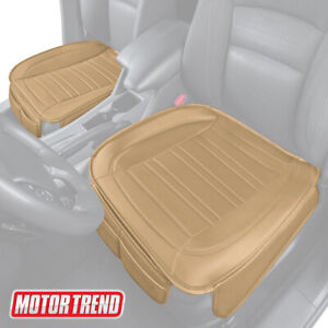 Motor Trend Car Seat Cushion Beige Faux Leather 2 pack Universal Fit
