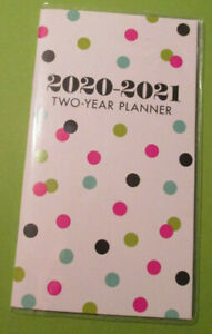 2020 2021 Monthly Planner 2 year 6x3 5 Pocket Purse Pink Colors Dots On White