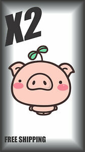 X2 Cartoon Pig Cute Sticker Decal Window Wall Book Bottle Coffee
