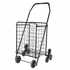 Black Collapsible Durable Iron Cart With Climbing Wheels Comfort Grip Handle