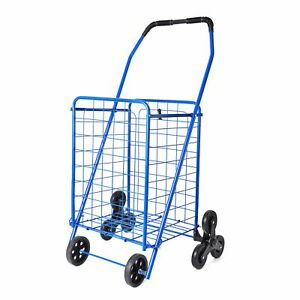Blue Collapsible Durable Iron Cart With Climbing Wheels Comfort Grip Handle