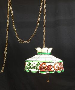 Coca Cola Coke Stained Glass Fiberglass Hanging Swag Lamp Light Retro VTG