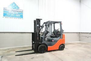 2018 Toyota 8fgcu25 5 000 Cushion Tire Forklift Triple Sideshift Low Hours