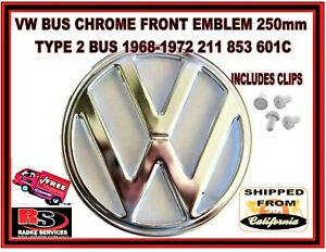Vw Bus Chrome Front Emblem 250mm Type 2 Bus 1968 1972 211 853 601c