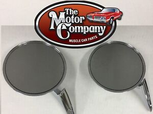 1966 1967 1968 Chevelle Chrome Round Side Mirror Ribbed Base Pair W hdw In Stk