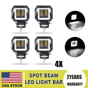 4x 3 Inch Led Work Light Bar Spot Pods Driving Fog Halo Off Road Atv Truck 4wd