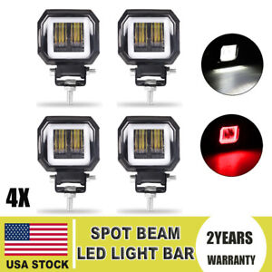 4x 7d 3 Led Work Light Bar Spot Pods Driving Fog Halo Off Road Atv Truck 4wd