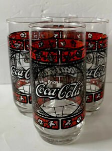 VNTG 4 Coca-Cola Glass w/ Tiffany Stained Glass Black Red Leaf Pattern Tumbler