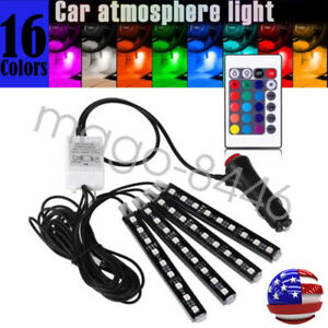 4x Rgb 18 Colors Motorcycle Atv 36 Led Neon Under Glow Accent Light Strip Kit