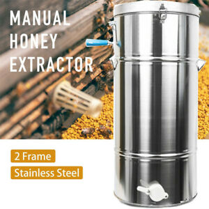 Manual Honey Extractor Stainless Steel Tank 2frame Beekeeping Bee Hive Equip