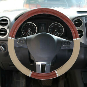 Wood Grain Steering Wheel Cover For Auto Car Suv Lux Grip Beige Syn Leather 38cm
