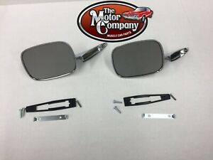 1971 1972 Chevelle El Camino Chrome Side Mirror Ribbed Base Pair W Hdw In Stk