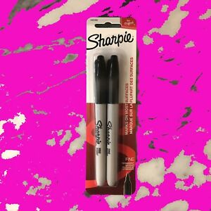 Authentic Free Shipping Sharpie Fine Point Black Permanent Markers 2 Count Pack