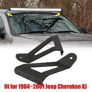 For Jeep Cherokee Xj Roof Windshield Mount Bracket Fit 50 Curved Led Light Bar