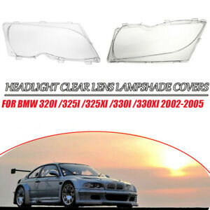 For Bmw 3 Series E46 2001 2005 Headlight Lenses Plastic Covers Left Right Pair