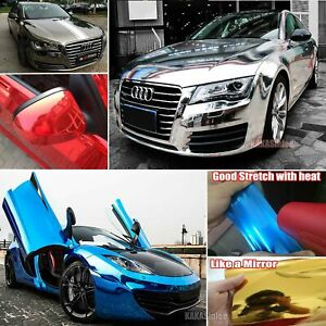 Bubbles Free Flexible Glossy Car Mirror Chrome Vinyl Wrap Sticker Film Roll Us