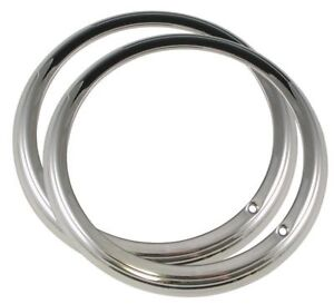 1941 Ford Headlight Rings Passenger Car 2 Ribbed Style Stainless Pair