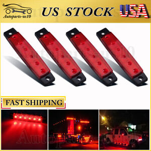 4x Red Led Side Truck Trailer Light Bar Waterproof Marker Lights Clearance Light