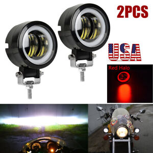 2x 3 Round Led Work Light Bar Spot Pods Driving Fog Red Halo Offroad Atv 4wd