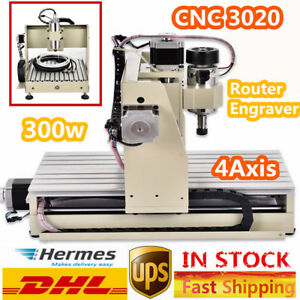 300w 4 Axis 3020 Cnc Router Engraver Router Engraver Mill Drill Cutter Machine