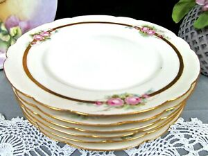 Limoges France Set Of 6 Plates With Painted Pink Roses Band Of Gold Side Plates