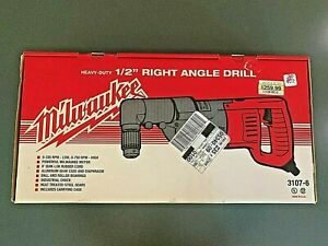 Milwaukee Heavy Duty 1 2 Right Angle Drill 3107 6 In Red Metal Case Nib