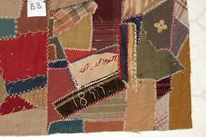 Antique 1899 Crazy Quilt Piece Embroidered Detailed Stitching B8