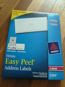 New Box Of 3000 Avery 5160 6240 8460 Address Mailing Shipping Labels 1 X 2 5 8