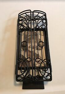 Vintage Black Iron Metal Picture Frame With Opening Doors Freestanding Gothic