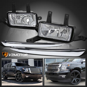 For 2015 2020 Chevy Suburban Tahoe Driving Fog Lights W Chrome Trim Switch