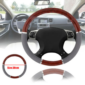 Wood Grain Steering Wheel Cover Lux Grip Gray Syn Leather New For Auto Car Suv