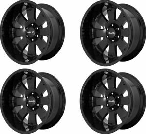 Set 4 20 Helo He917 20x10 Black 6x135 Wheels 18mm Lifted 6 Lug Truck Rims
