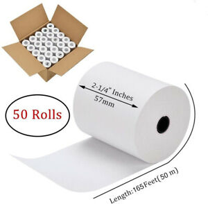 50 Rolls 2 1 4 X 165 Thermal Paper Cash Register Case Credit Card Pos Receipt
