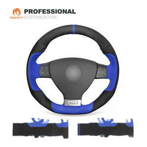 Black Blue Suede Steering Wheel Cover For Vw Golf 5 Mk5 Gti Golf 5 R32 Passat R