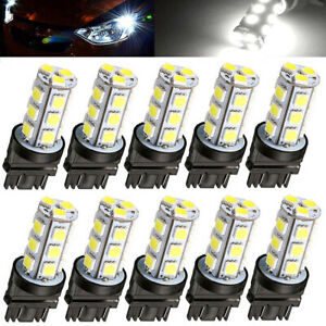 10 Pack 3157 White 18smd 5050 Reverse Brake Stop Turn Tail Back Up Led Bulbs Usa