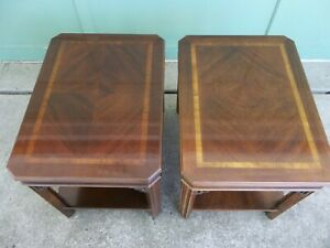 Vintage Pair Of Lane Inlaid Chinese Chippendale Mahogany End Side Tables
