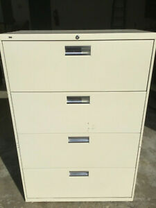 4dr 36 w X 19 d Lateral File Cabinet By Hon Office Furniture Model 684l Cream