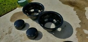 Black Dodge Ram 3500 17 Dually Wheel Simulators Center Caps Covers 2003 2018